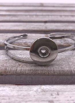 Silver Open Snap Cuff Bracelet