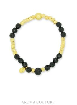 Black Onyx and Gold Stackable Lava Rock Diffuser Bracelet