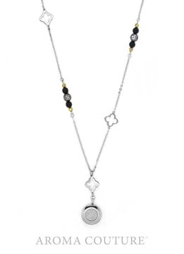 Nina Onyx Pave and Pyrite Diffuser Silver Necklace