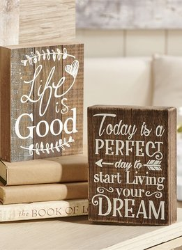 """Wooden Desk Block """"Life is Good"""""""
