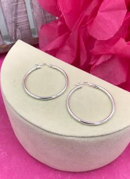 Sterling Silver Basic 2mm x 35mm Hoops