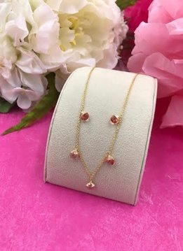 14K Gold Filled Rose Swarovski Confetti Necklace