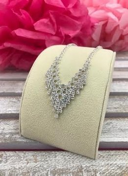 Silver and Clear Rhinestone V Necklace