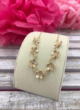Gold Necklace with Small Flowers