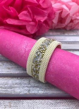 Cream and Gold Rhinestone Chip and Chain Magnetic Bracelet