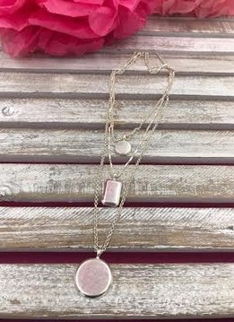 Three Layered Silver Necklace with Round and Square Pendant