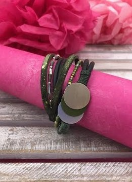 Silver and Green Faux Leather Wrap Bracelet