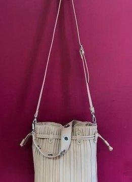 Vertically Lined Drawstring Shoulder Bag in Blush