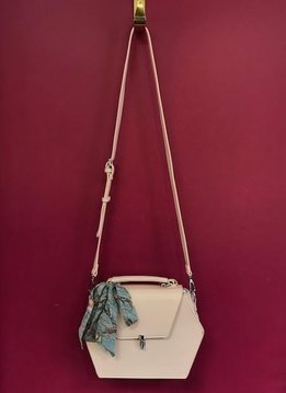 Madison West Scarf Accent Hexagon Satchel Faux Leather Purse in Blush