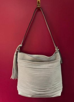 Tassel Accent Unique Layered Strip Boho Faux Leather Purse in Light Grey