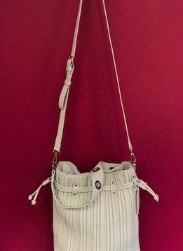 Vertically Lined Drawstring Shoulder Bag in Mint