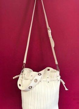Vertically Lined Drawstring Shoulder Bag in White