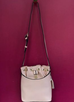 Chain Accent Drawstring Bucket Faux Leather Shoulder Bag in Blush