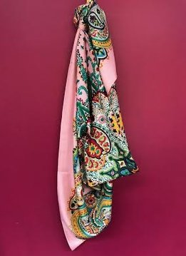 Pink Floral Print Large Square Scarf
