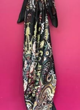 Black Floral Print Large Square Scarf