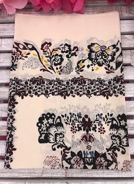 Fashionable Beige Floral Print Square Scarf