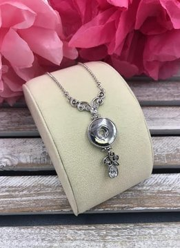 Silver Snap Necklace with Paisley Accents