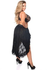 Daisy Corsets Black Lace High Low Skirt- Regular