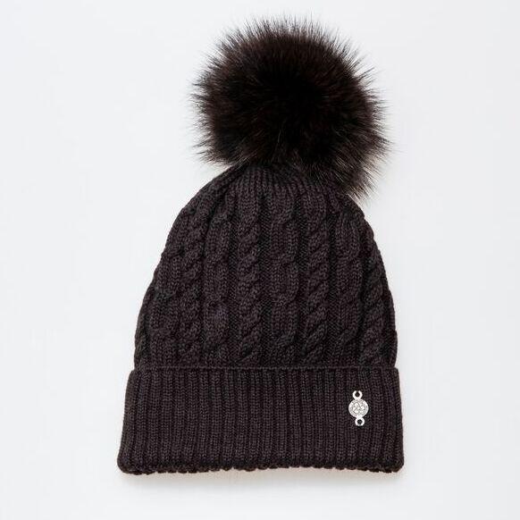 Canadian Hat Company Ltd. TORSADE BEANIE BLACK/BLACK FOX OS 50% ITALIAN MERINOS - 50% ACRYLIC / 100% RECYCLED FUR