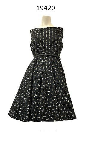 Miss Lulo Miss Lulo Dress with Bee Print and Belt