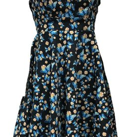 Miss Lulo Miss Lulo Pin Up Dress with Blue Butterflies