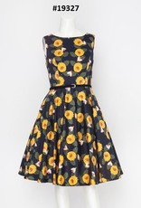 Miss Lulo Custom Sweven Print Pin Up Dress - Sunflowers.