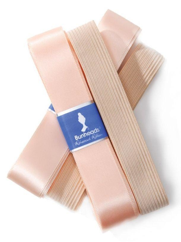 """Capezio Keep your shoes on pointe with Bunheads® Rehearsal Ribbon and Elastic. Pre-packaged, wide, single-faced satin ribbon and elastic that is cut to the length needed for a pair of pointe shoes. Each package contains 2 yards of 7/8"""" rehearsal ribbon and 18"""" of"""