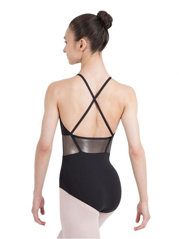 Capezio Lunar High Neck Leotard<br /> <br /> This leotard can't help but cause a phenomenon. Features cross back straps and a standard Capezio ballet leg line. The iridescent mesh adds breathability and will shine from here to the moon. All leotards from the Lunar collection