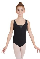 Capezio Lunar Tank Leotard<br /> <br /> Start a new phase in this reinvented tank leotard. Features breathable, iridescent mesh that stylizes the front yoke and side panels. All leotards from the Lunar collection are available in tween and adult sizes.