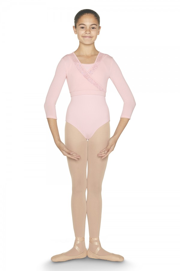 Bloch No ballet wardrobe is complete without a stylish wrap top, and Mardi is a dance staple that's as comfortable as it is timeless! Features printed floral mesh panels that meet in a cross design at the bust, as well as a flattering V-front neckline. Layer ov