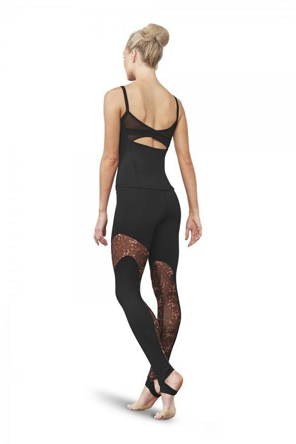 Bloch You'll go wild for our floral printed Gigi Legging! Trendy, high-performance design with a stunning sheer, asymmetric mesh panel insert printed in our ditsy floral print. Complete with stirrup strap to cup the arch of the foot, keeping them secure as you