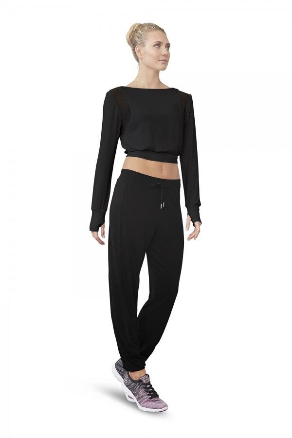 Bloch You'll adore dancing in this trendy must-have, which is a nod to the sports luxe trend. Designed to keep you warm and comfortable during warm up and on your way to and from the studio. Crafted from soft rayon fabric that feels luxurious next to the skin,