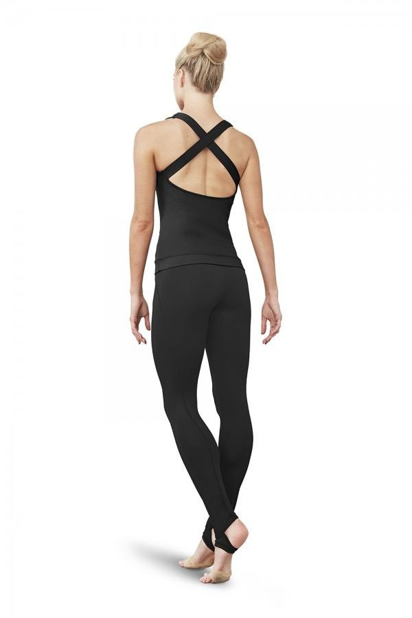 Bloch This workout top is so comfortable you'll never want to take it off! Notable details include modish cross back and front keyhole design revealing a peek of skin. A plain mesh panel along the round neckline finishes off the look.