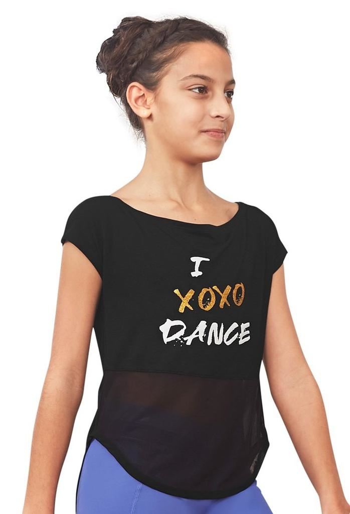 Bloch Cement your adoration for dance in the enchanting slogan Renae T-shirt, which looks equally as chic in the studio as it does on the street. Versatile shape enables the dancer to wear the mesh tie back as either knotted or loose, offering multiple looks in