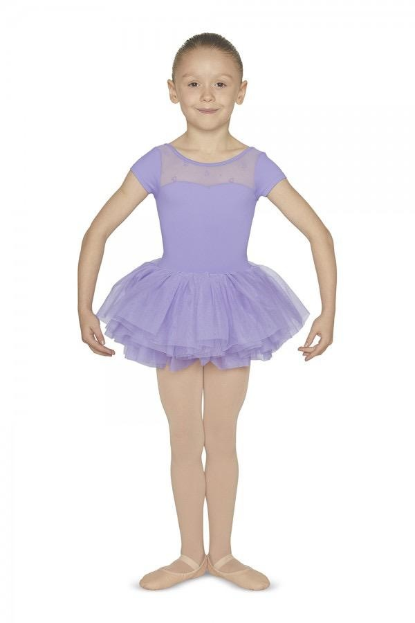 Bloch Little dancers will treasure this adorable skirted leotard! Sweetheart neckline is designed with heart printed mesh panel, as well as a stunning cross wrap mesh back. All-in-one styling makes it easy to pull on and off and layer over a pair of ballet tigh
