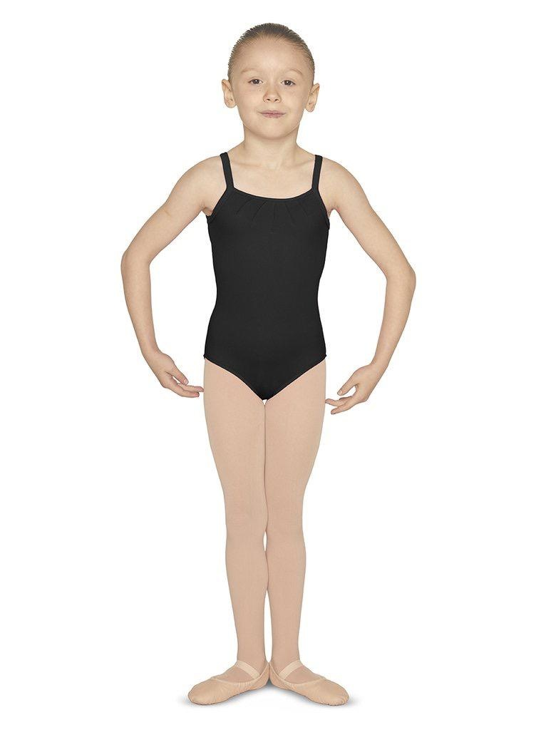 Bloch This simple yet charming leotard is a dream to dance in. Features thin camisole straps and an elegant pin tuck detail neckline. The sheer mesh back is bejewelled with an array of delicate diamantes, ensuring you sparkle on that stage.