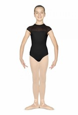 Bloch Glide and leap effortlessly around the studio in this enchanting cap sleeve garment. A high neckline, secured with a subtle clip fastening, provides modesty, while a stunning mesh panel printed with tiny hearts across the front and cap sleeves, offers an