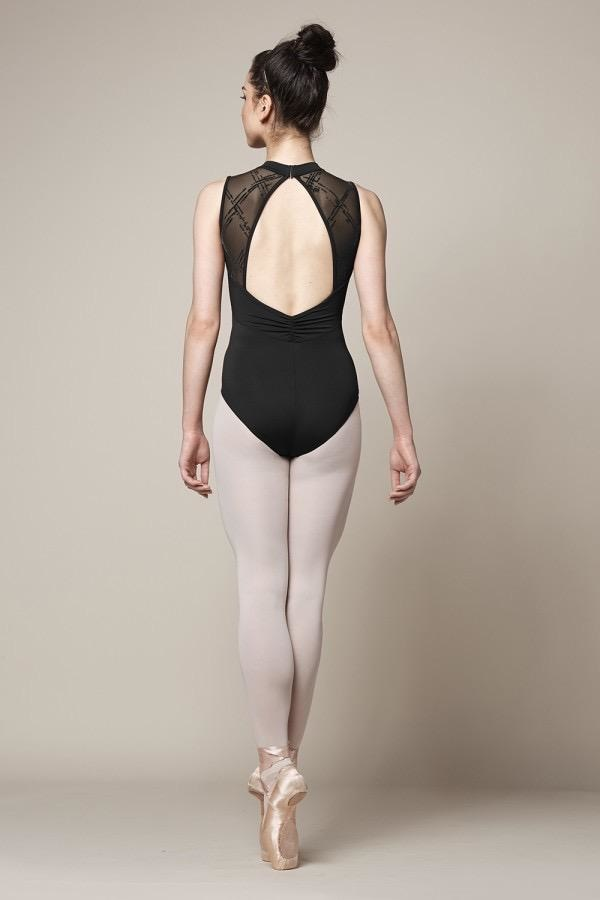 Bloch Streamline your look with this high neck leotard which offers a sleek silhouette. Luxurious mesh embossed with a check motif is showcased at the front of the piece, while the back features an open mesh design which gathers at the base of the back. The ide