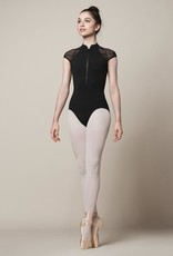 Bloch This elegant leotard is sure to deliver a dash of razzle-dazzle to your next performance! Delicate mesh cap sleeves provide coverage through the shoulders, while a functional zip through front fastening enables easy wear and a superior fit. The mesh back