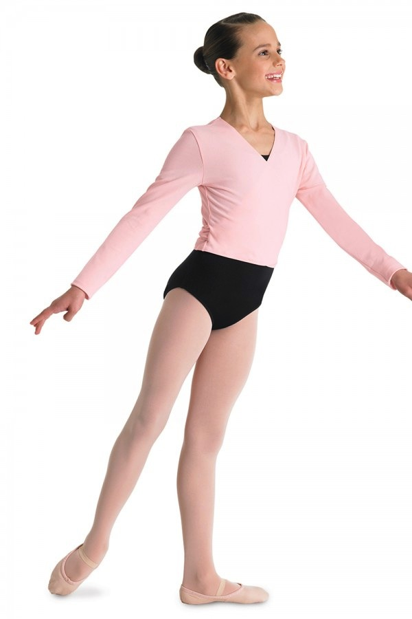 Bloch Girl's crossover cardigan is a classroom must have. Perfect for the young dancer to layer over her leotard for warming up and going to and from class.