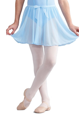 "Capezio Pull on circular skirt<br /> 100% Polyester<br /> 1/2"" tunneled elastic waistband<br /> Medium skirt length: 11 1/4""<br /> Organza bow trim<br /> Recommended care: Machine wash cold, delicate cycle and hang dry"