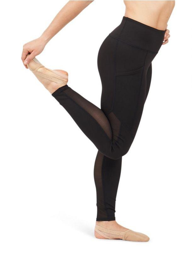 Capezio Dance Active Paneled Legging<br /> <br /> This form-fitting, active legging features a high waistband and mesh panels that extend down the side and back of the dancer's legs. Mesh pockets are great to hold small personal belongings.