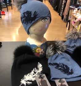 Canadian Hat Company Ltd. Canadian Hat Company Berdine- Merino Wool Beanie with Feathers on side and  Fur Pom Pom