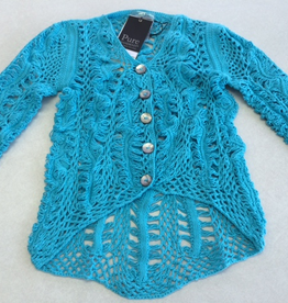 Pure Handknit Pure Handknit 4464-Artful-Crochet-Cardigan ON SALE ! !, TURQ369, XS/S