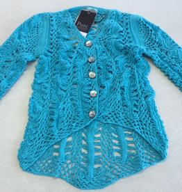 Pure Handknit Pure Handknit 4464-Artful-Crochet-Cardigan ON SALE ! !, TURQ369, XS/S