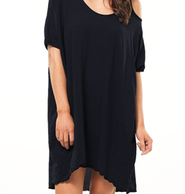 Vigorella Vigorella Sand-Shell Open Shoulder Dress - Bamboo   - ON SALE ! !, BLACK, S/M