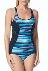 Gabar Swimwear Gabar G17200 Scoop Neck Mallot, BLACK MLT, 16
