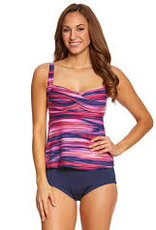Gabar Swimwear Gabar  G17202 2PC Twist Tankini, NAVY MULTI, 16
