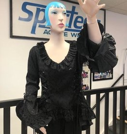 Victorian Vintage Black Lace Overlay Theatre Blouse
