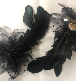 FH2 Black Feather Hair Corsage